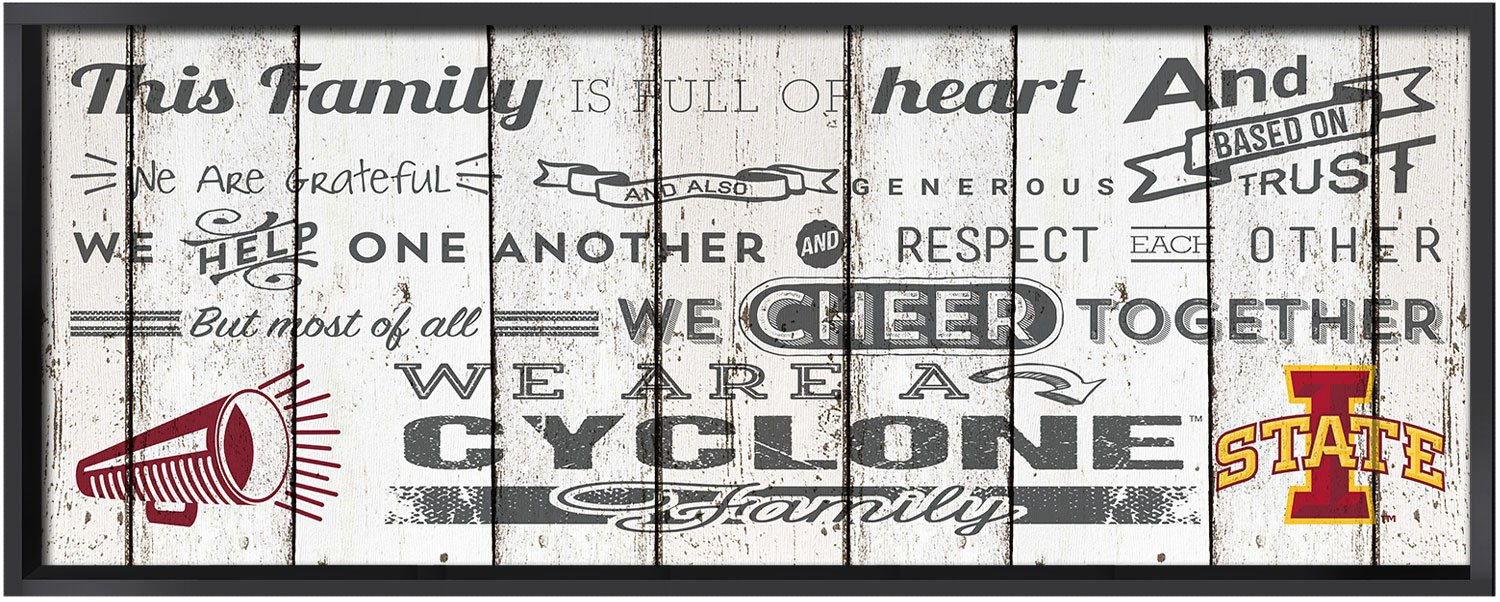 KH Sports Fan 32x11.75 Iowa State Cyclones Family Cheer Large Weathered Collage Plaque