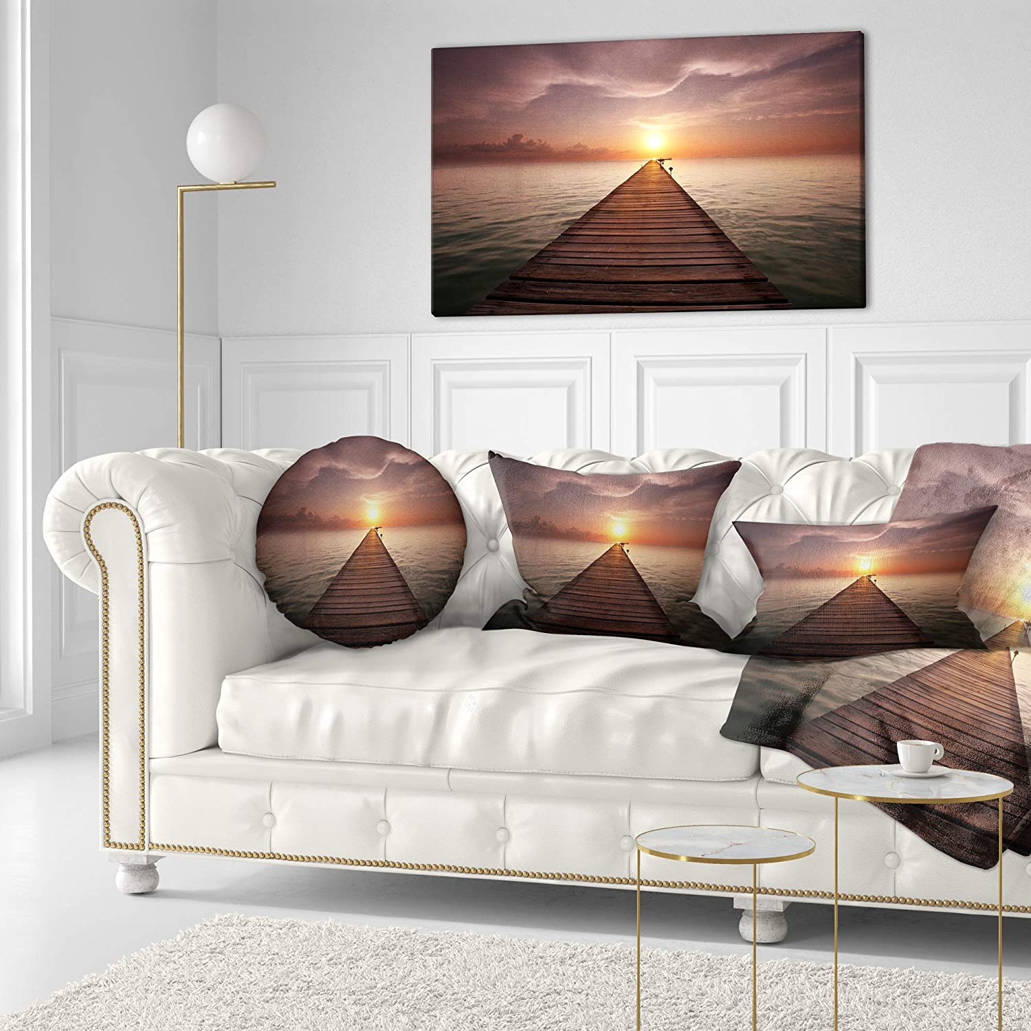 Insert Printed On Both Side Designart CU12405-20-20-C Boardwalk into The Sun Seashore Round Cushion Cover for Living Room Sofa Throw Pillow 20