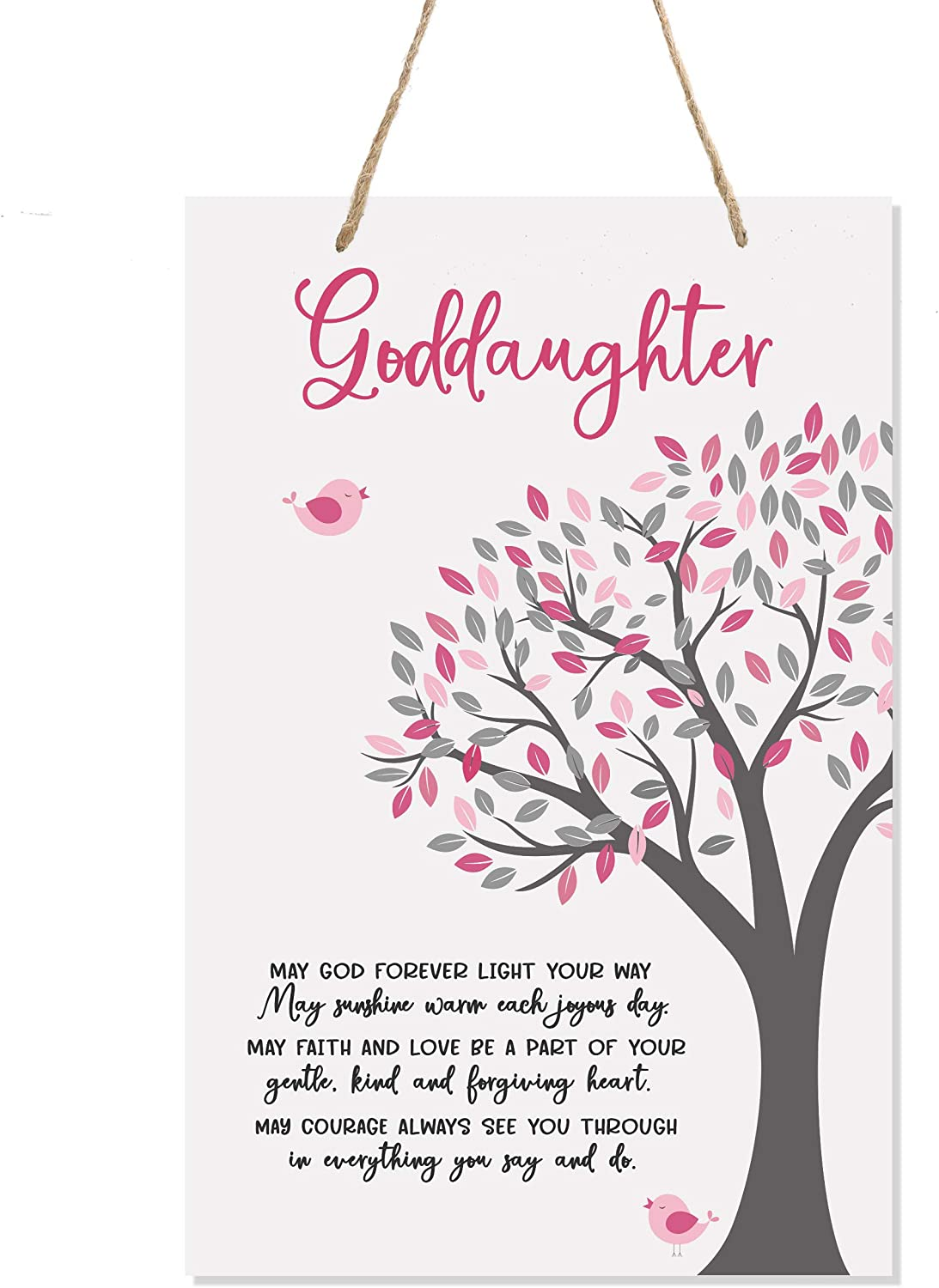"""LifeSong Milestones Baptism Christening Modern Rope Tree Sign for Son Daughter Godchild Godson Goddaughter Child First Holy Communion Gift Mother Father Godparents 8""""x 12"""" (May God Forever)"""