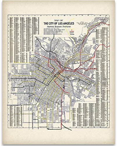 Amazon.com: 1906 Los Angeles (LA) California Map Art Print - 11x14 ...