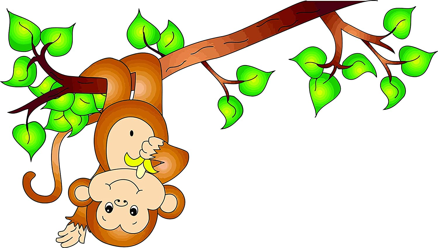 Amazon Com Monkey Monkeys Hanging Upside Down On Tree Branch Cartoon Cartoons Curious George Cartoon Wall Decals For Bedroom Or Bathroom Animal Animals Design Kids Kid Vinyl Art Decal Walls Rooms Size 15x20