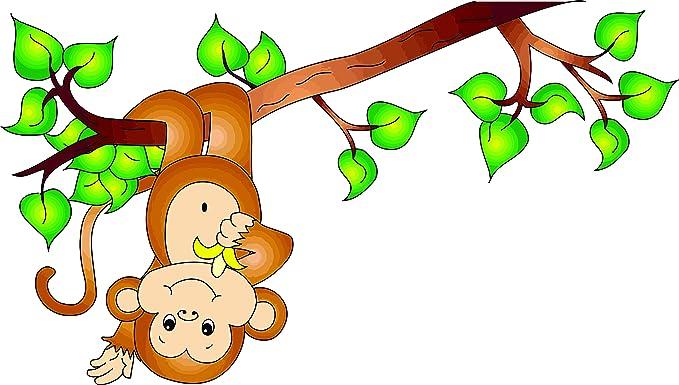 Amazon Com Monkey Monkeys Hanging Upside Down On Tree Branch Cartoon Cartoons Curious George Cartoon Wall Decals For Bedroom Or Bathroom Animal Animals Design Kids Kid Vinyl Art Decal Walls Rooms Size 15x20