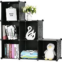 BASTUO DIY Cube de Rangement Organiseur Plastique Armoire Bibliothèque étagères Armoire de Rangement, Noir et Blanc