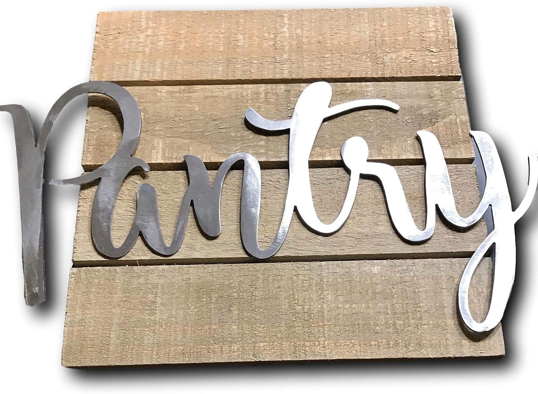Epic Designs Metal Pantry Sign Script for Door Wall Bathroom Decoration