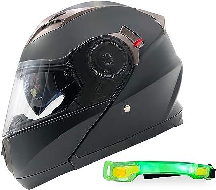 Nathut Motorradhelm Klapphelm Mit Led Licht Fullface Helm Integralhelm Mit Sonnenblende Motorrad Helm Schwarz Ece L 58 60cm Auto