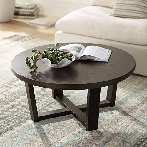 Conrad 40 Wide Dark Brown Wood Round Coffee Table – Elm Lane