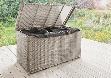 Destiny Casa White Rattan Cushion Storage Box Cushion Box Ottoman