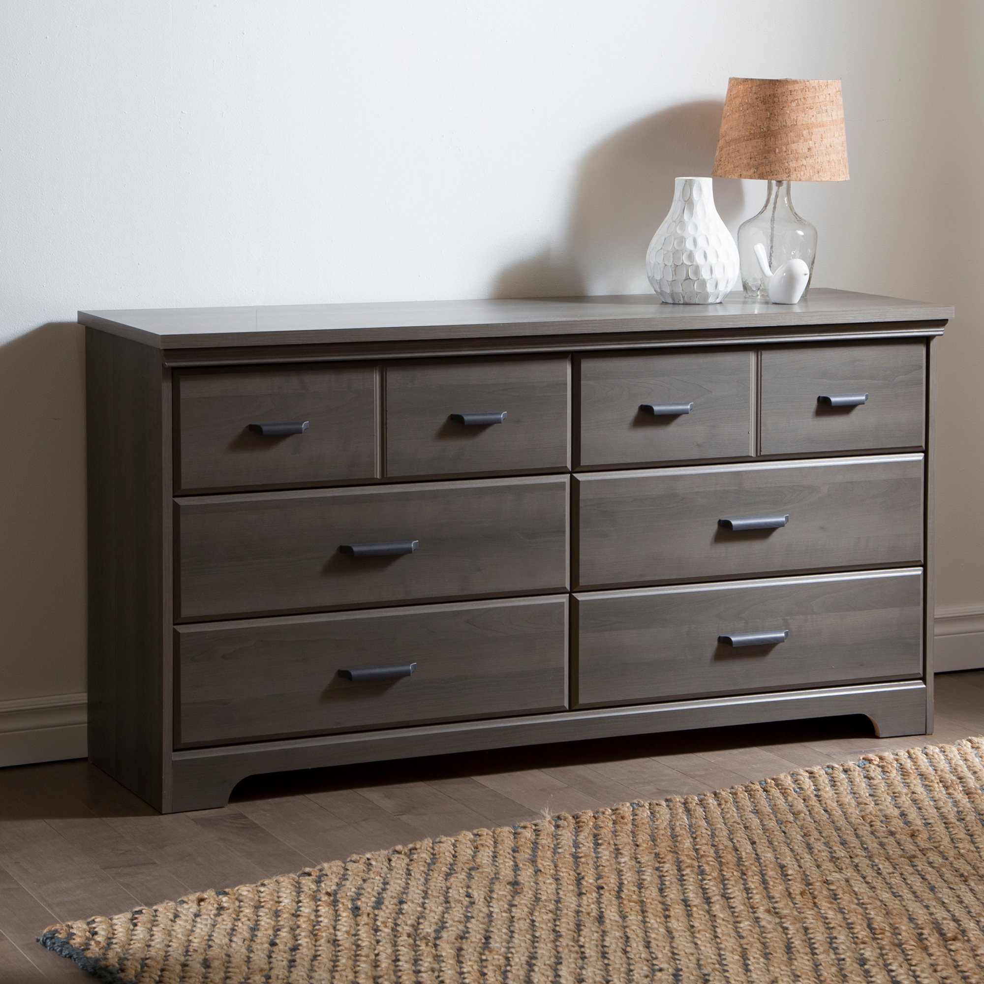 South Shore Versa Collection 6-Drawer Double Dresser, Gray Maple with Antique Handles