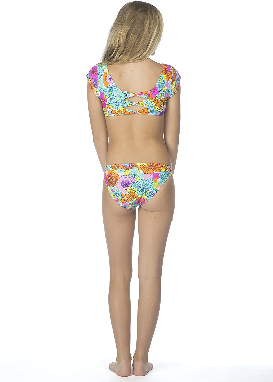 Hobie Big Girls Fleur to Love Two Piece Short Sleeve Crop Hipster Swimsuit