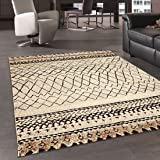 Alfombra de inspiración Bereber, diseño de tribal, diseño moderno, beige, 80 x 150 cm