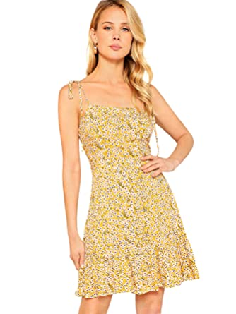 6fea52a75a64 SheIn Women s Summer Sleeveless Floral Ruffle Strappy Beach Swing Dress  Large Yellow at Amazon Women s Clothing store