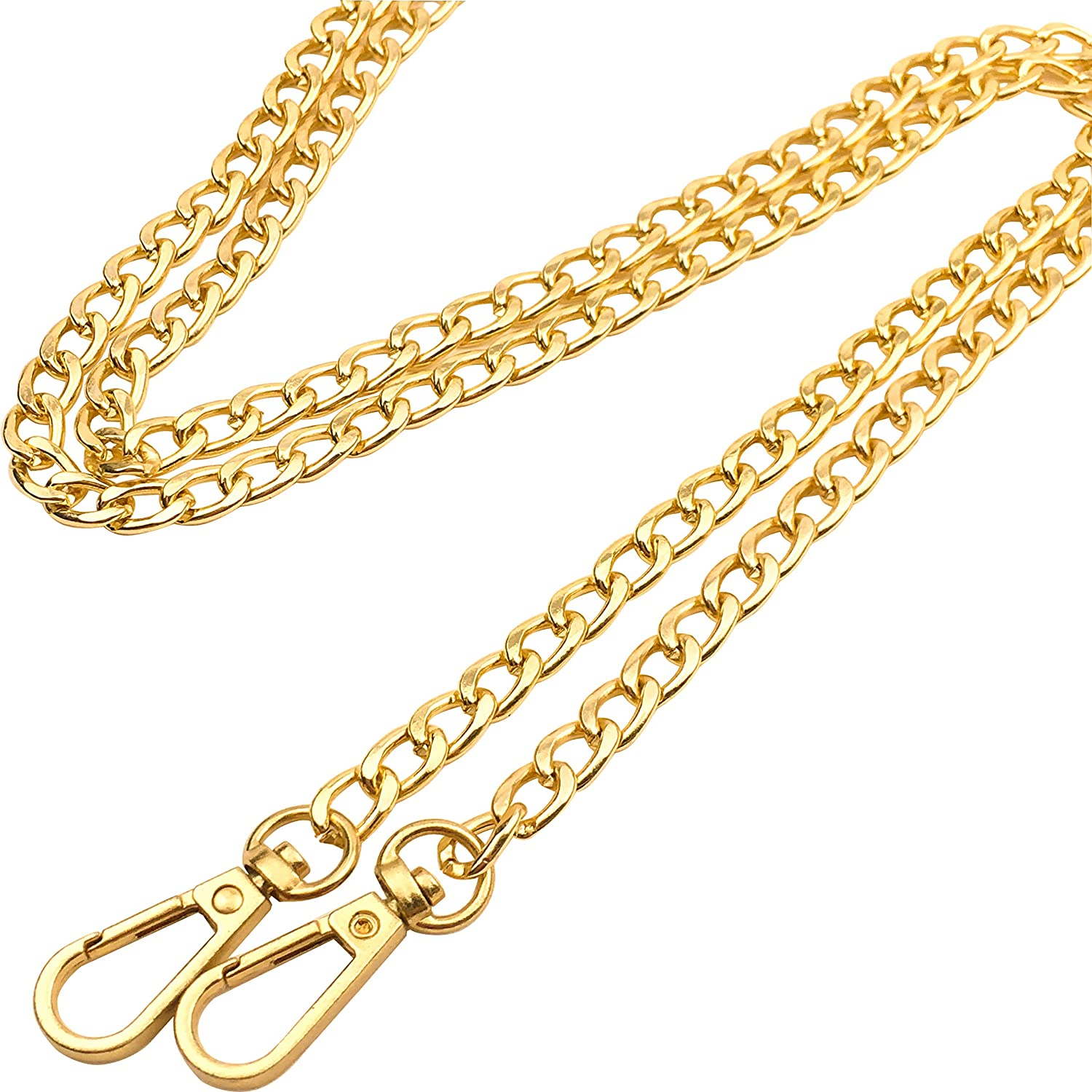 Guo Fa 120CM X 8MM Flat Chain Strap Handbags Replacement Chains for Wallet Clutch Satchel Tote Bag Length Purse Chain Shoulder Crossbody Bags Hardware Chain Gold 4PCS (47 Inch)