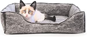 K&H Pet Products Amazin' Lounger Kitty Sleeper Cat Bed (Hooded and Unhooded) Traps Pet Hair & Dander