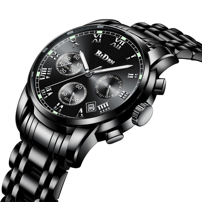 Relojes para Hombre del Cronógrafo de Acero Inoxidable Reloj de Pulsera Impermeable de Lujo para Hombres Calendario de Fecha Analógico Cronómetro Caballeros Business Vestido Números Romanos
