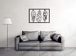 Tamengi Framed Feather Themed Metal Wall Decor, Feather Wall Decor Reflecting, Housewarming Wall Art, Home Metal Wall Decor,