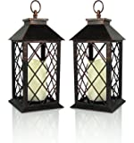 "Decorative Lanterns - Antiqued Bronze Candle Lantern with a Flameless LED Pillar Candle and 5 Hour Timer -Set of 2 - Outdoor Lighting - 13"" H"