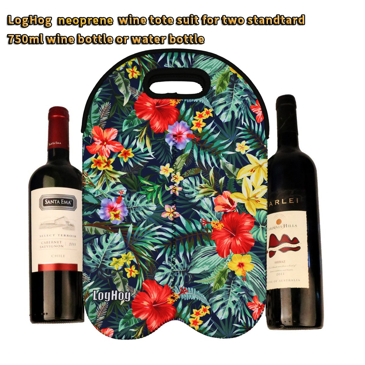 Insulated Neoprene Two-Bottle Wine Tote in Colorful Hawaiian Floral Print