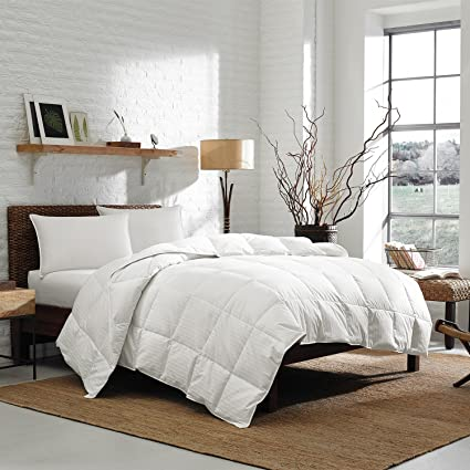 Eddie Bauer Queen 350 TC 700 Fill Power White Goose Down Comforter, Striped Damask Cotton – 90 x 98 Inches