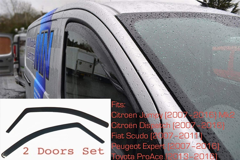 2x Wind Deflectors Compatible with CITROEN Jumpy Dispatch FIAT Scudo PEUGEOT Expert TOYOTA ProAce 2007 2016 MK2 Dark Smoke Tinted Acrylic Glass Door Side Windows In-Channel Visors Rain Snow Sun Guards