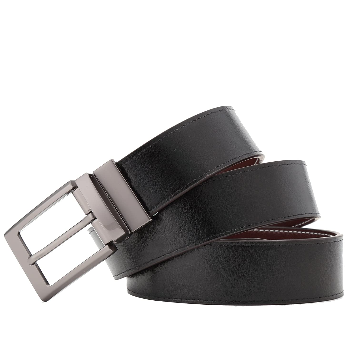 BISON DENIM Mens Reversible Leather Belt Two Sided Dress Belt Casual Rotated Buckle Belts
