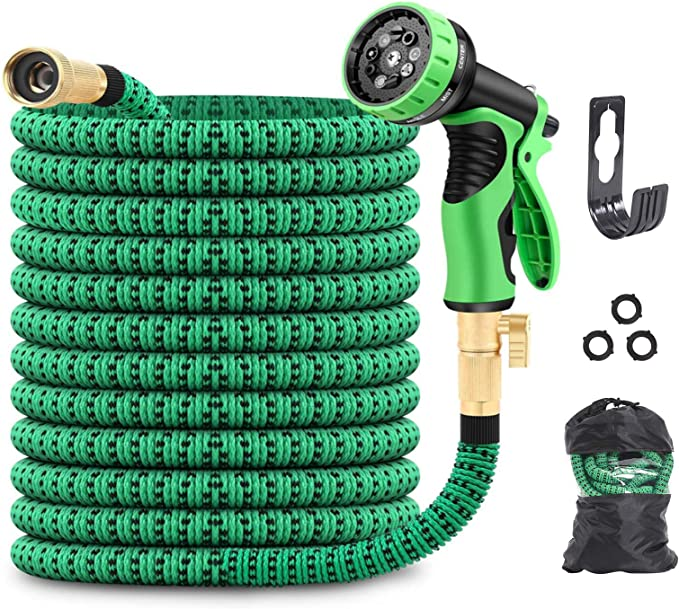 HomeYoo Garden Hose Watering Flowers Cleaning Washing Car 25 Feet Newest Expandable Strongest Magic Garden Water Hose Pipe with Solid Brass Fittings /& 9-pattern Spray Nozzle for Gardening 25ft