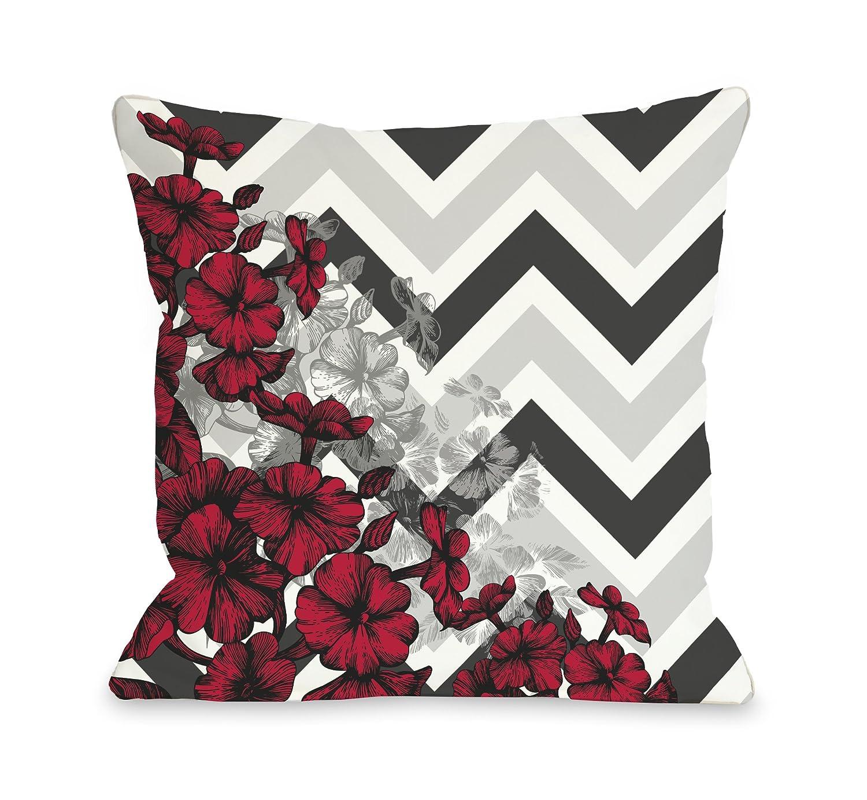 18x 18 One Bella Casa Amber Chevron Floral Throw Pillow by OBC Orange