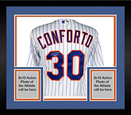 5dc52d98414 Image Unavailable. Image not available for. Color  Framed Michael Conforto New  York Mets Autographed Majestic White Authentic Jersey ...
