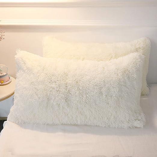 FLUFFY FAUX FUR SHAGGY SOFT SOFA CHAIR BED HOME DECOR PILLOW CASE CUSHION COVER