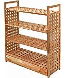 Étagère avec tiroir et étagère 4étages Noyer massif pour salle de bain, cuisine, cave, Cellier, chambre d'enfant, Chaussures, etc.