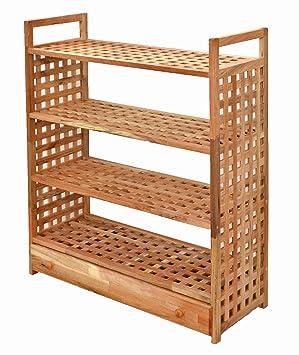 Estantería con cajones y 4 baldas – Estantería de pie de madera maciza de nogal para