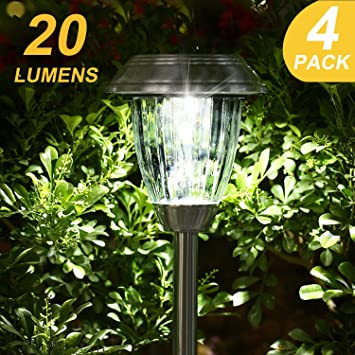 Amazon 20 lumens super bright solar lights outdoor garden 20 lumens super bright solar lights outdoorgarden solar pathway lightsstainless steel landscape workwithnaturefo