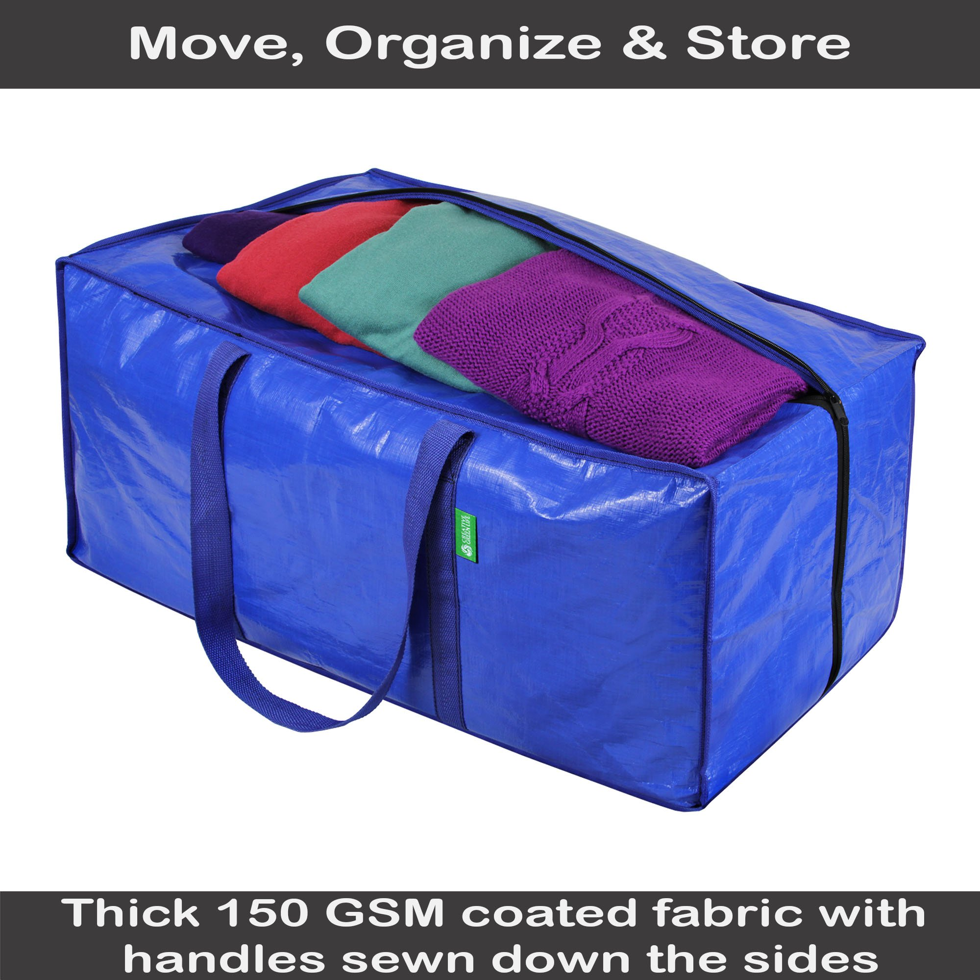 Storage and Moving Bag Set with Zipper Closure (8 Pack). Extra-large, Heavy Duty, Thick Oversized Wardrobe Totes. Bins for Clothing, Comforters, Blankets, Dorm Room Essentials, Decorations, Supplies by Creative Green Life (Image #3)