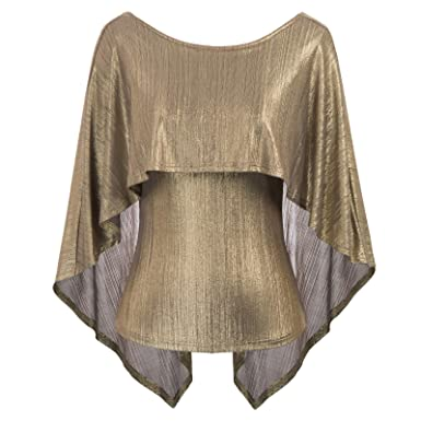 df1108946786f2 GRACE KARIN Women s Sexy Backless High Stretchy Irregular Drape Cape Blouse  Top