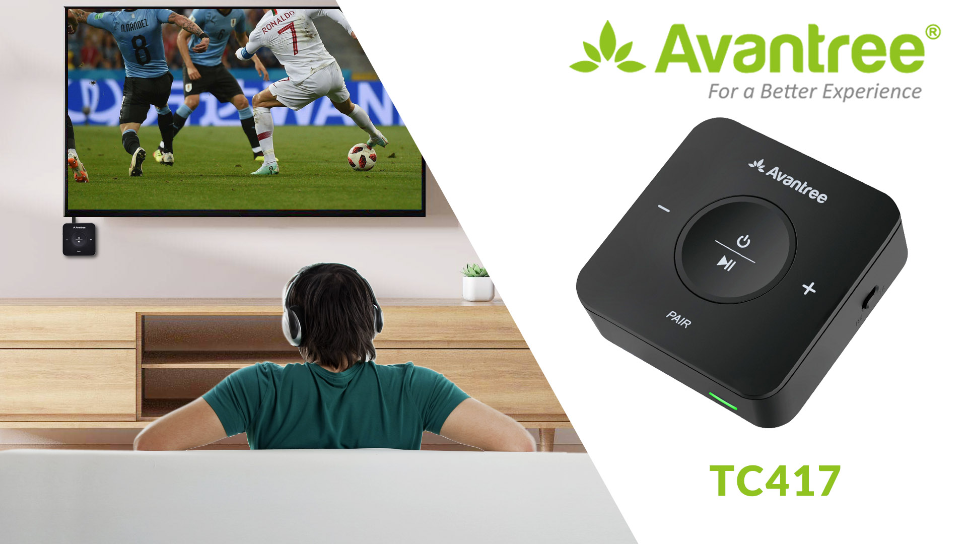 Avantree TC417 Bluetooth Transmitter Receiver for TV, Optical Digital Toslink, Volume Control for 3.5mm AUX, RCA, 20H Playtime, aptX Low Latency Wireless Audio Adapter for Headphones, Home Stereo