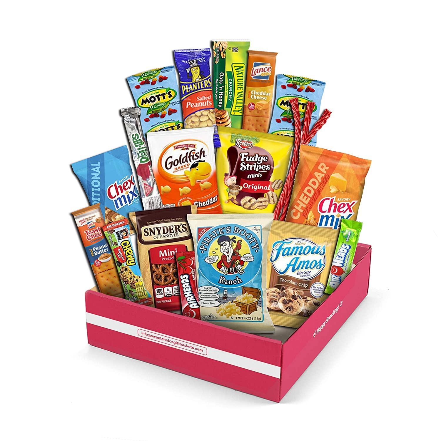 Snack Box Variety Pack, (20 Count) valintines Candy Gift Basket - College Student Care Package, Thanksgiving, Xmas Food Arrangement Chips, Cookies, Bars - Birthday Treats for Adults, Kids,