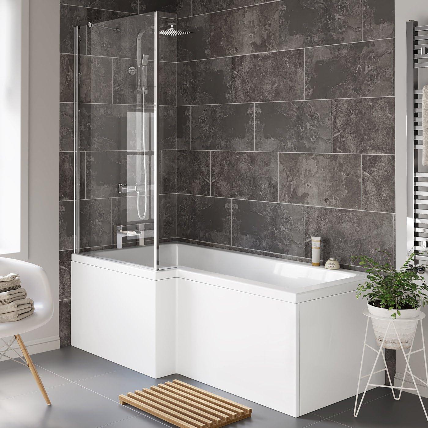 Bañera de 1700 mm en forma de L izquierda con mampara + panel BL116.: iBathUK: Amazon.es: Hogar