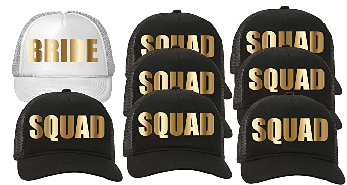 23cf8b12f42 Custom Apparel R Us Trucker Hat Squad Bachelorette Party Wedding (8-Pack)  7-Black for The Squad/1-White for The Bride