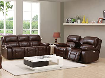amax leather westminster ii power reclining sofa u0026 loveseat with power headrest brown