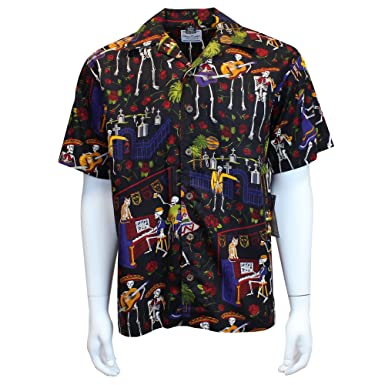 57f3040baab David Carey Day of The Dead Camp Shirt – Black – Button Up Collared Short  Sleeve