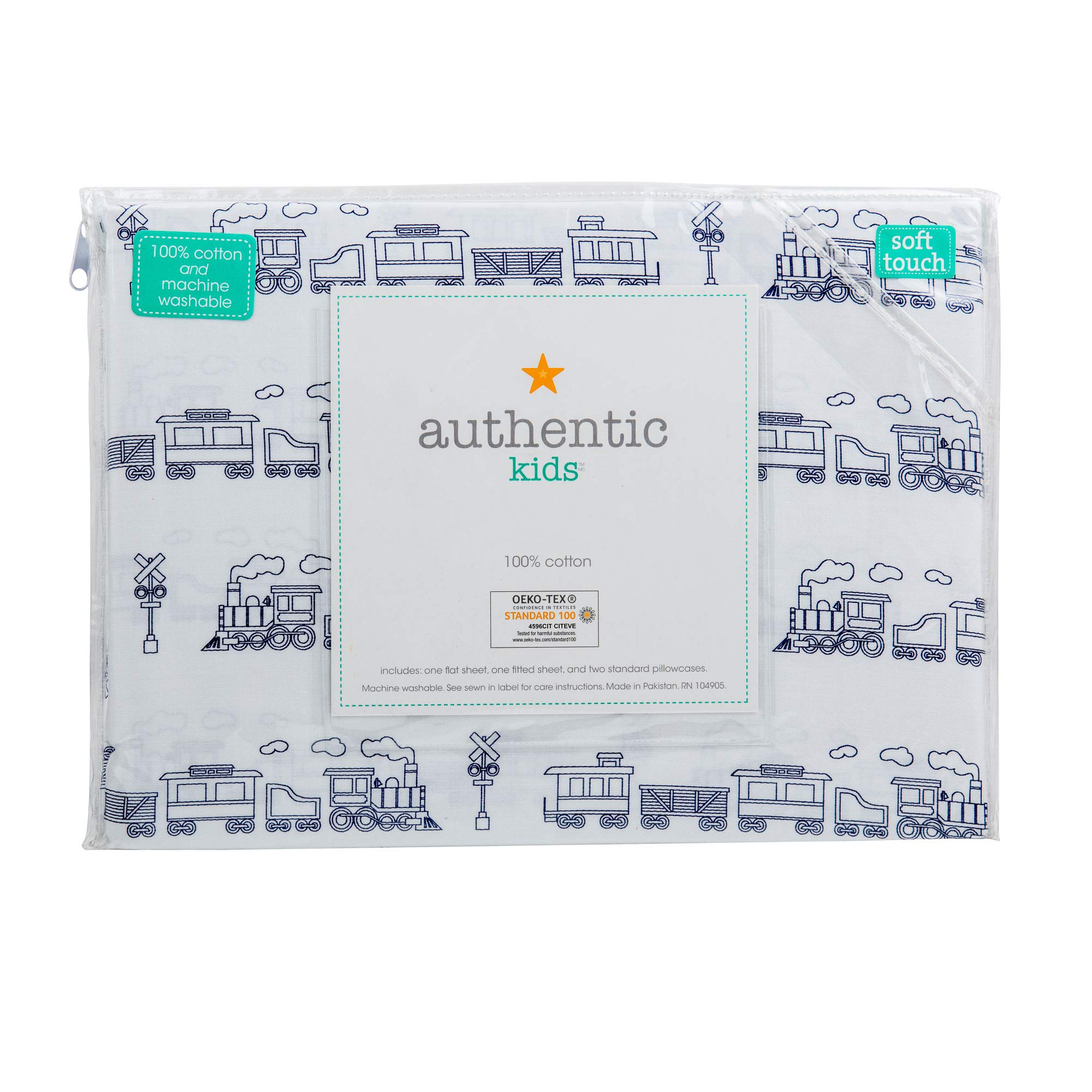 Authentic Kids 4 Piece Double Bed Cotton Sheet Set Trains Cabooses Box Cars Railroads Navy Blue on White Background