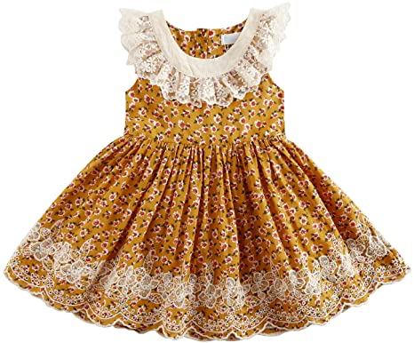 b8197218d61a Sharequeen Casual Flower Lace Embroidery Cotton Girls Dress Ruffle Design Children  Dresses Dark Yellow Color 2