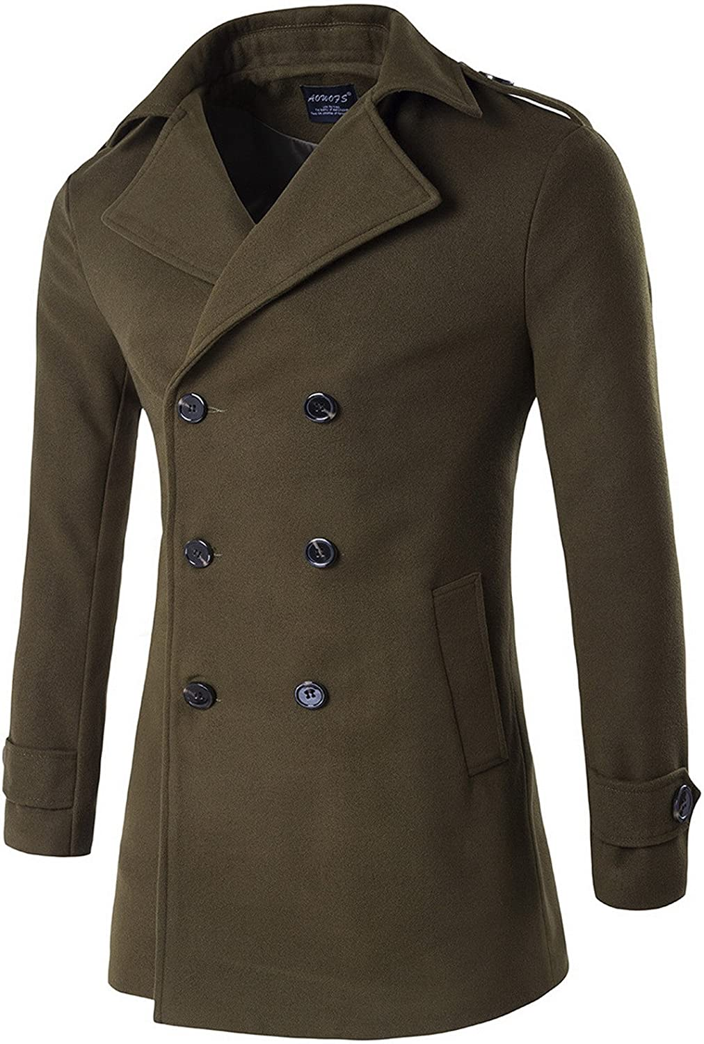 AOWOFS Men's Mid Long Coat Winter Double Breasted Military Overcoat Warm Trench Coat