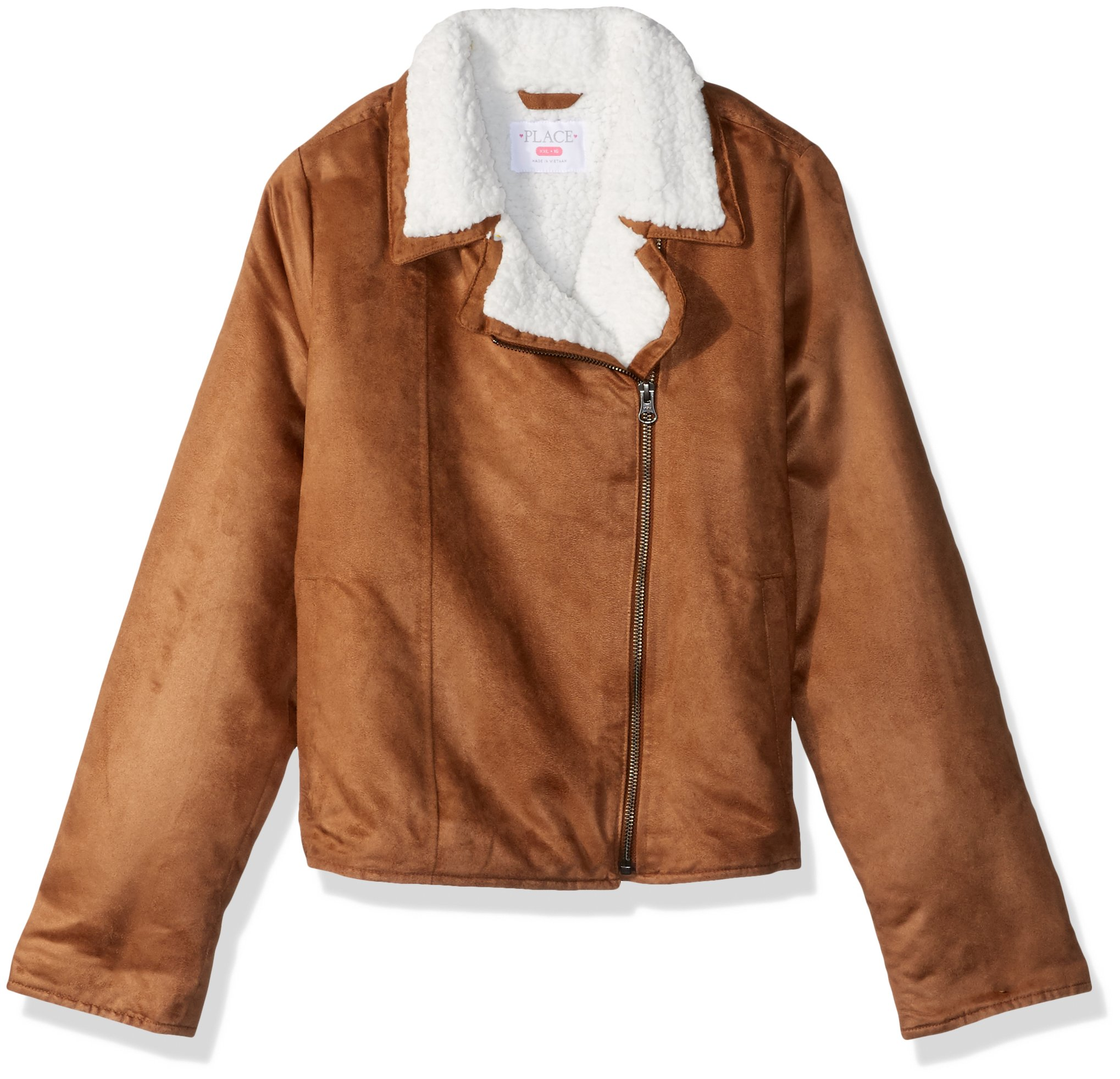 The Children's Place Big Girls' Faux Suede Moto Jacket, Brown, S (5/6)
