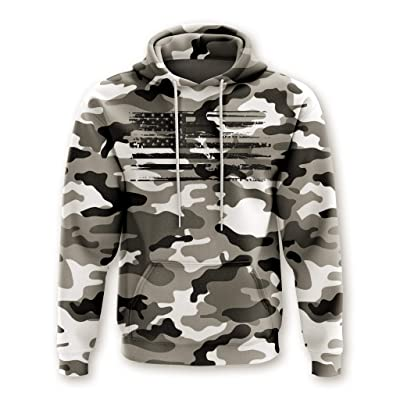 Tactical Pro Supply Army American Camo Flag Hoodie - Cotton Polyester Materials Machine Wash Cold for Men Women Outdoor at Men's Clothing store