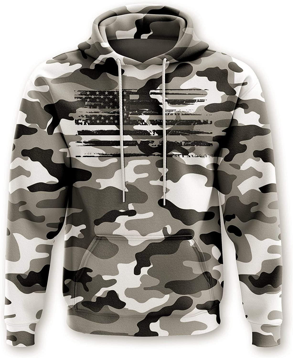 Tactical Pro Supply Army American Camo Flag Hoodie - Cotton Polyester Materials Machine Wash Cold for Men Women Outdoor
