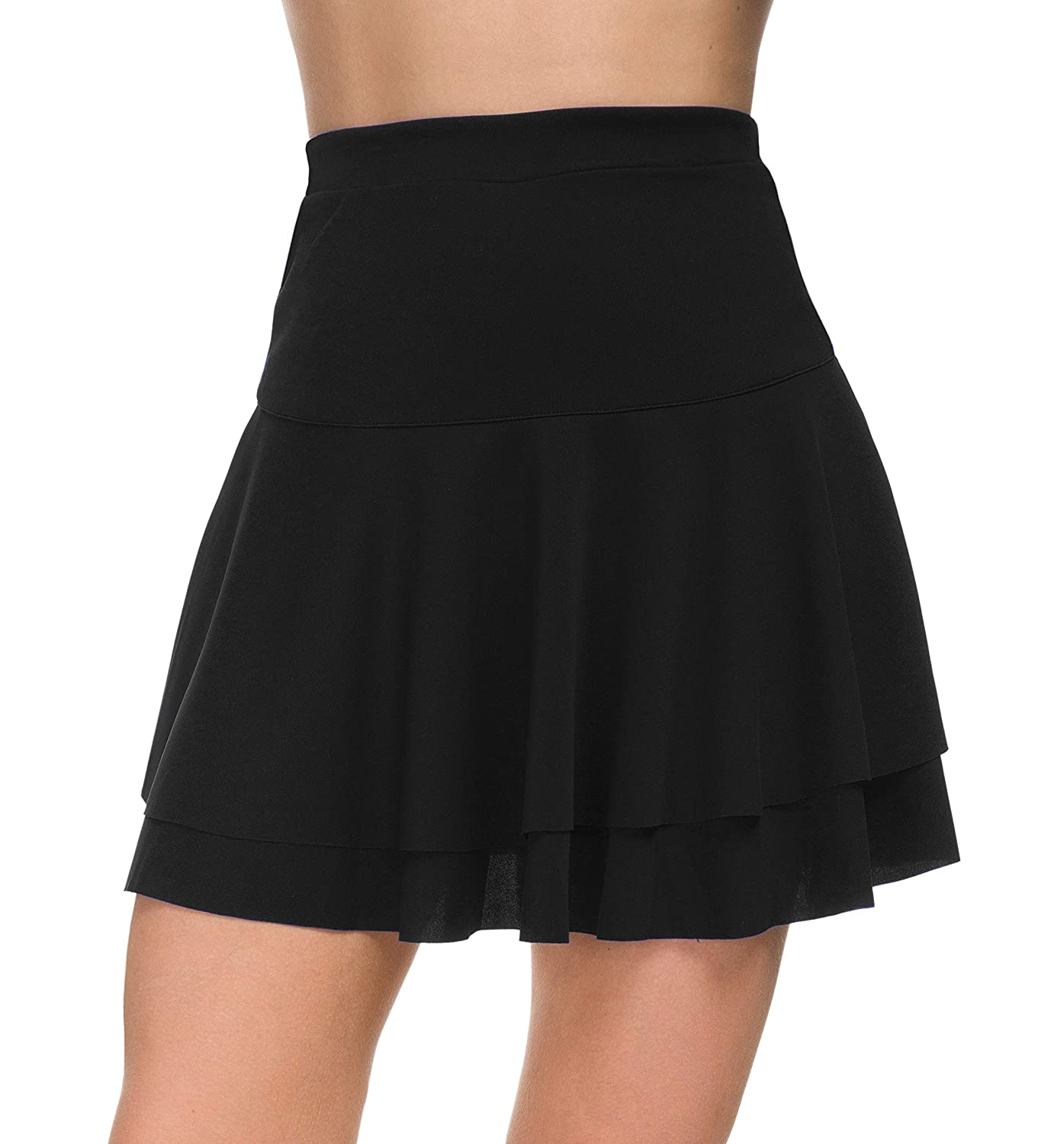 46756c317529e Afibi Casual Mini Stretch Waist Flared Plain Pleated Skater Skirt:  Amazon.ca: Clothing & Accessories