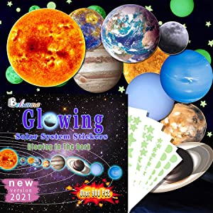 Glow in The Dark Stars and Planets, 914pcs Bright Solar System Wall Stickers, Glowing Ceiling Decals for Bedroom Living Room, Shining Space, Best Birthday Gift for Kids, Boys, Girls and Toddlers