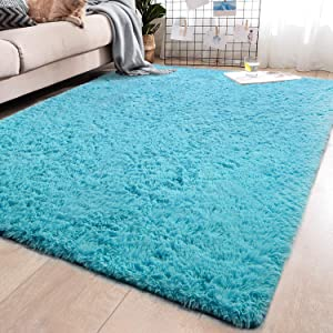 YJ.GWL Soft Shaggy Area Rugs for Bedroom Fluffy Living Room Rugs Anti-Skid Nursery Girls Carpets Kids Home Decor Rugs 5.3 x 7.6 Feet Blue