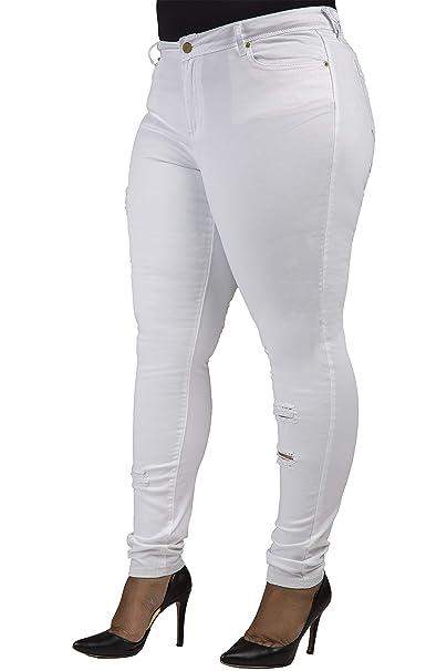 798c58d8bab Poetic Justice Plus Size Women s Curvy Fit White Denim Light Destroyed  Jeans Size 14Plus x 32Length