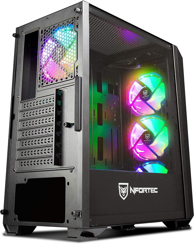 Torre Gaming Nfortec Krater para PC con Cristal Templado y 4 Ventiladores RGB de 120mm incluidos (compatible con placas base de Gigabyte, Asus y MSI) ...